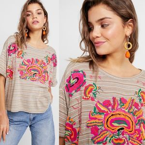 NWT Free People Catalunya Embroidered Top S